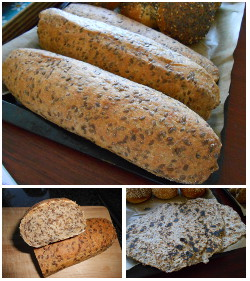 Linseed bread logs and flatbread