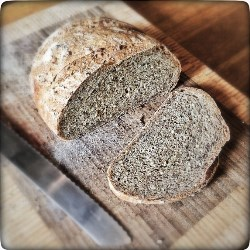 Seeded White Free Form Multigrain Loaf by Monica Shaw